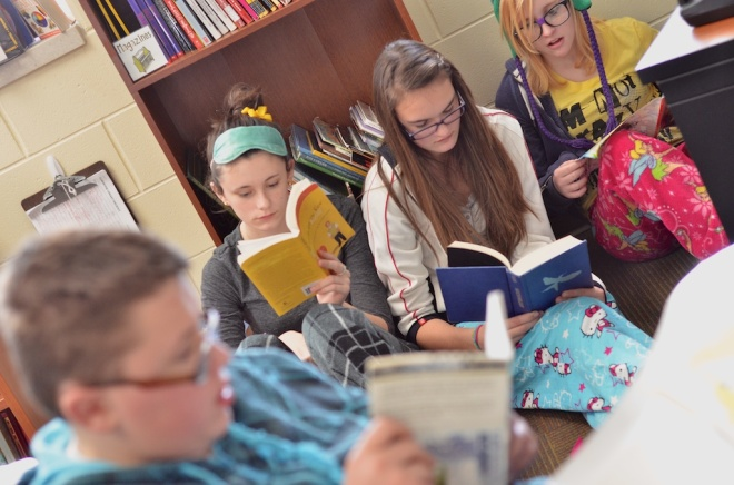 Zemmer Middle School students spent time reading in all classes on Celebrate Literacy Day, 12-12-12.