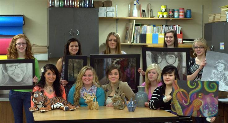 Award-winning artists from back left: Laura, Aleena, Adrianna, Jackie and Madelyn. Front left: Kelly, Heather, Mary, Danielle and Kaylee. Not pictured: Sarah