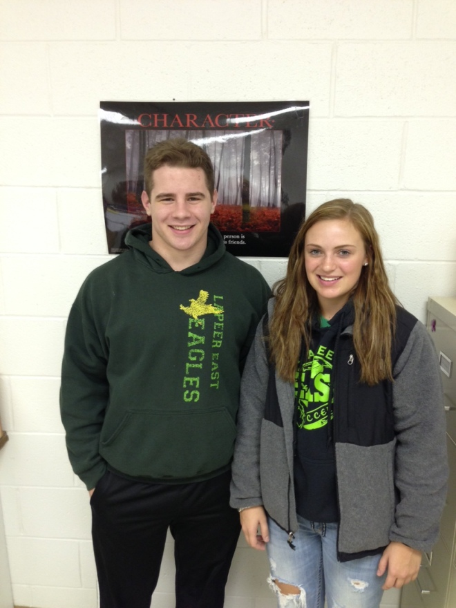 East student-athletes Joe Perry and Alexis Whatcott.