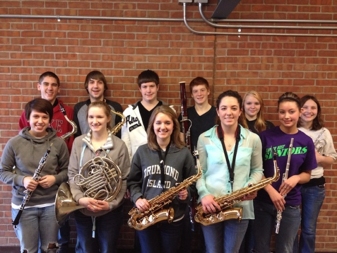 Band students in are (front row, left to right):Emily Prykucki, Renee Russell, Morgan Miller, Margaret Paris, Lindsey Penn. Back Row: Jacob Fritz, Alex House, Joshua Schlaud, Wesley Fleisher, Ayren Weishuhn, and Anneliese Petersmarck.