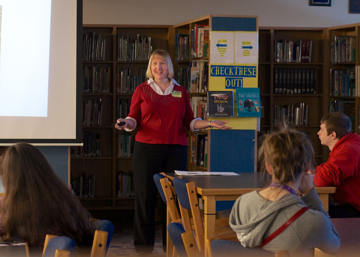 Tracy Bilen spoke to a group of high school students at Lapeer West Friday morning.