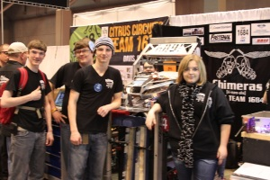 Members of the Lapeer Chimeras 1684 Robotics team at the FIRST Competition in St. Louis.