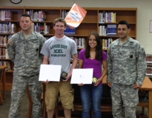 """Jonathan Gildner and Brittany Morrell, were honored this morning with the prestigious """"National Scholar Athlete Award"""" from the United States Army Reserve."""