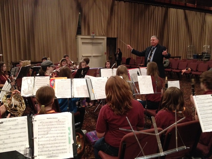 R-W students performing under the direction of Dr. Max Plank at the Mackinac Island Music Clinic.