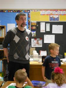 Jim LaFonatine, left, talks to first graders at Mayfield Elementary recently about his heart transplant.