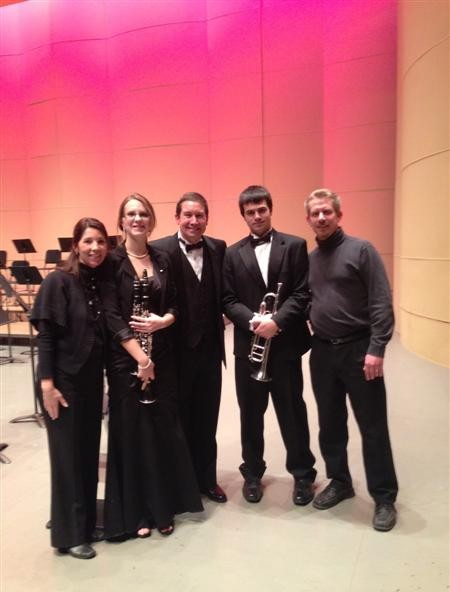 Pictured are Mrs. Heather Hundt, director of Bands at Rolland-Warner Middle School, Ms. Stephanie Wilcox (clarinet), Mr. Scott Boerma, Director of Bands at Western Michigan University, Mr. Timothy Waelde (trumpet) and Mr. Daniel Hundt, director of Bands at Lapeer West.