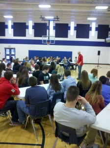 40 students from both East and West High Schools took part in a leadership symposium this morning with Ted Wiese.
