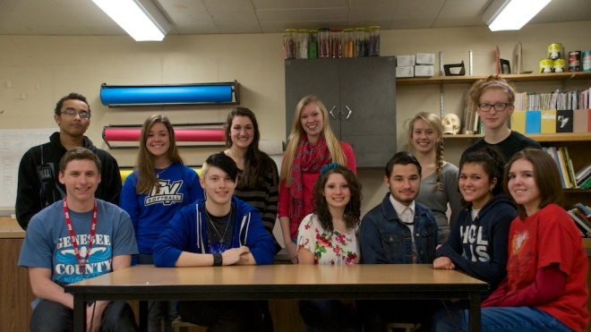 The 2014 Scholastic Art Award winners, from back left: Sean Benjamin, Mary Proulx, Emma Summers, Mandy Menosky, Sarah Brownrigg and Laura Stack. From front left: Jesse Luckett, Carl Frazer, Kelly Greenman, Andrew Roark, Aleena Dababneh and Madison Lewis.