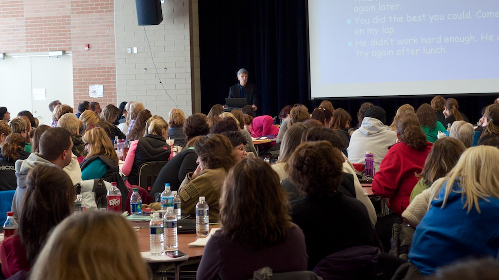 Peter Johnston, Ph.D, spoke to nearly 300 LCS staff members on Monday as part of In-Service Day.