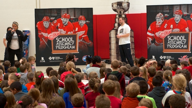 Over 400 students attended Monday's Detroit Red Wings assembly at Mayfield Elementary.