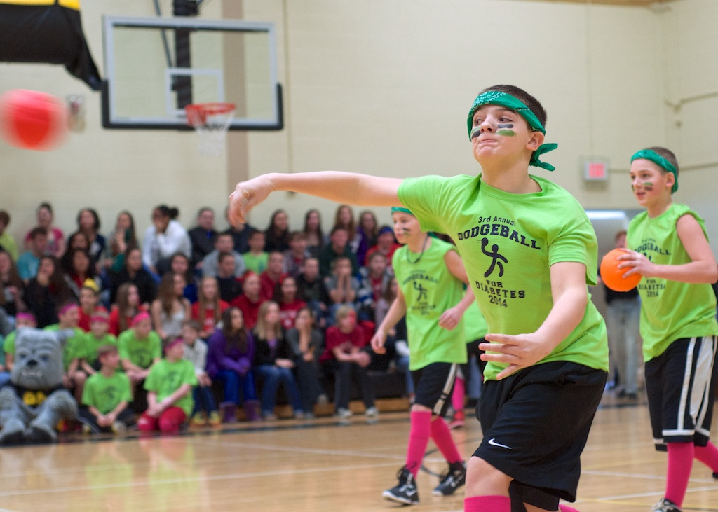 Zemmer Middle School students played a couple quick games of dodgeball at an assembly today to celebrate their participation in the third annual Dodgeball for Diabetes.