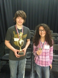 Nathan Jasper and Maria Reitz, the champion and runner-up in the 2014 Lapeer County Spelling Bee.