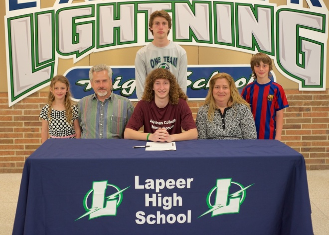 Lapeer High School senior Sean Bopra at Friday's signing ceremony.