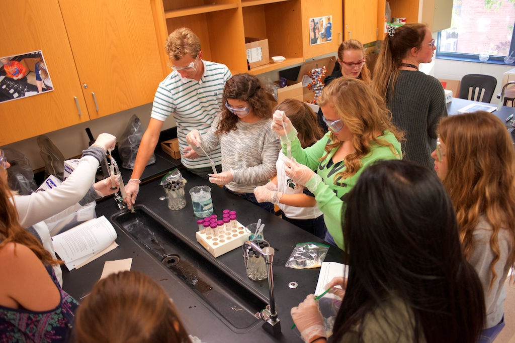 Students in Mrs. Lane's PLTW Biomedical Science class work together to isolate samples of banana DNA.