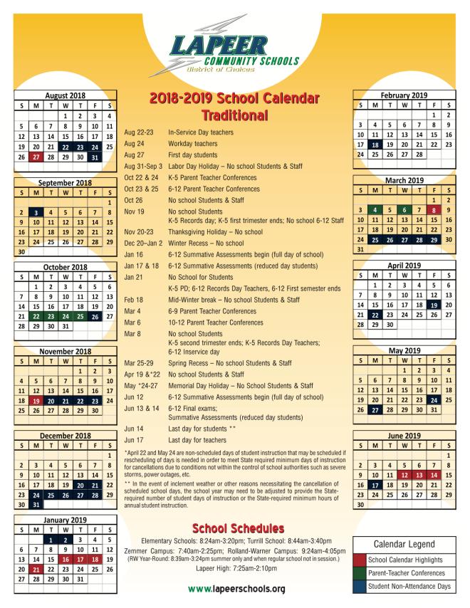 Calendar 2018-2019-2