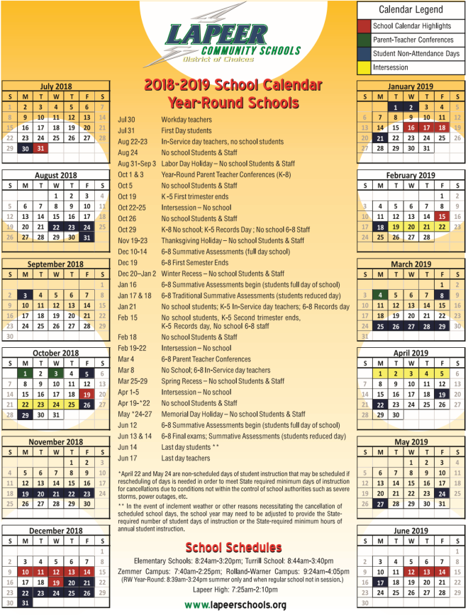 YR Calendar 2018